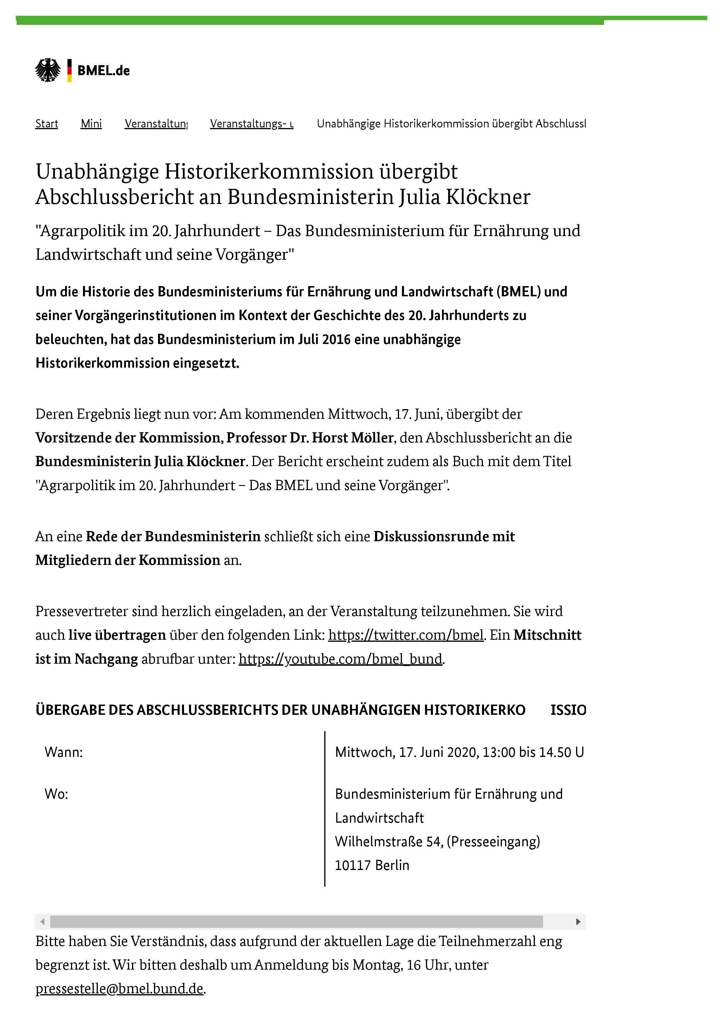 BMEL - Veranstaltungs- und Termin-Uebersicht - Unabhängige Historikerkommission übergibt Abschlussbericht an Bundesministerin Julia Klöckner-page-001