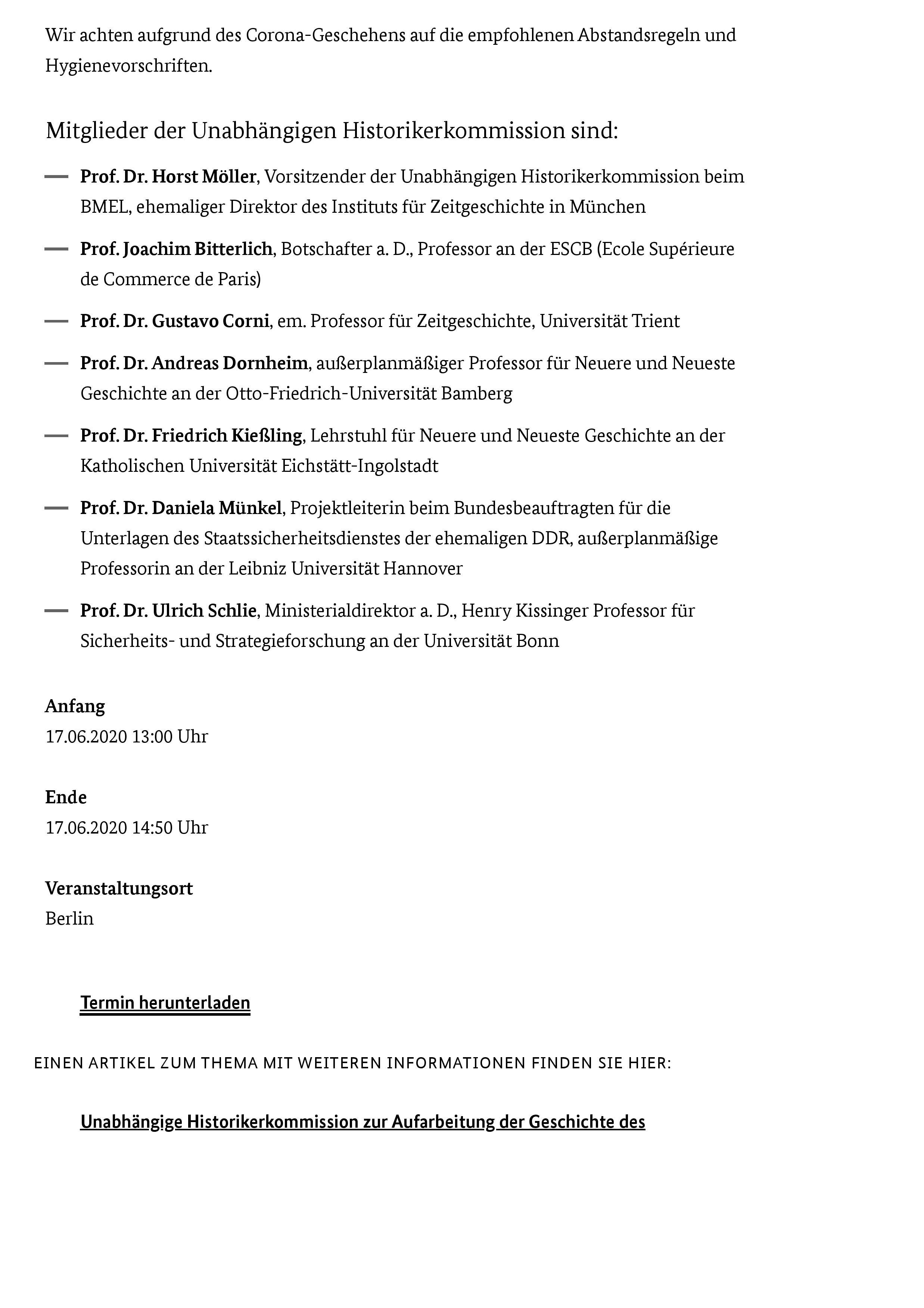BMEL - Veranstaltungs- und Termin-Uebersicht - Unabhängige Historikerkommission übergibt Abschlussbericht an Bundesministerin Julia Klöckner-page-002