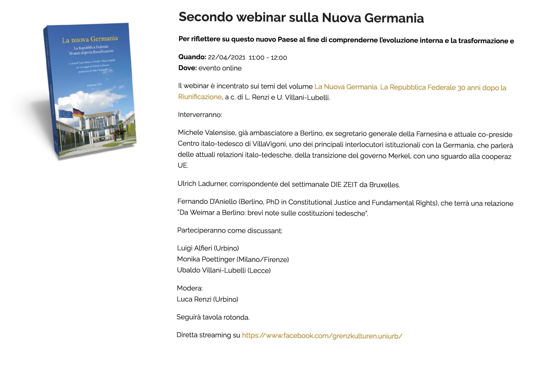 Secondo webinar sulla Nuova Germania _